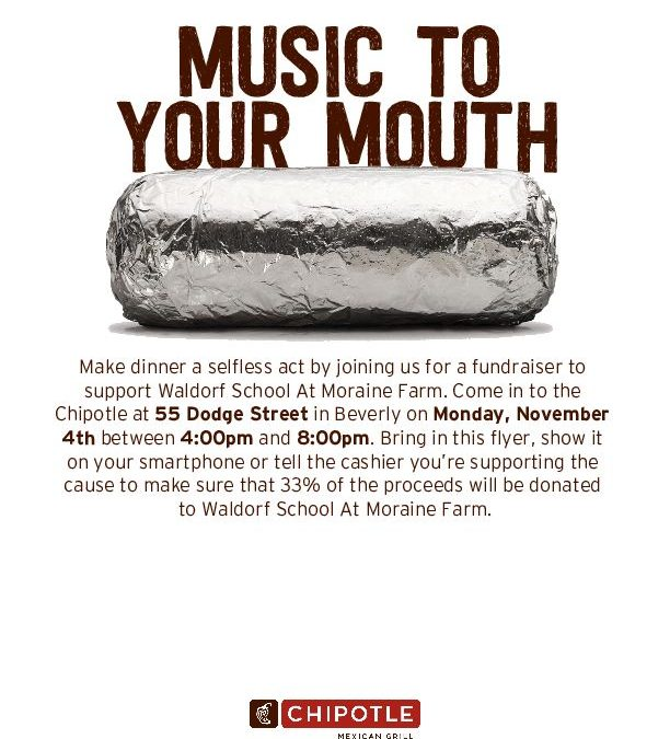 Dining for Dollars at Chipotle. November 4, 4:30 to 8:30 pm